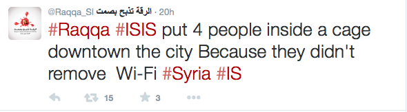 Tweet extracted from @Raqqa_SL account, Syria